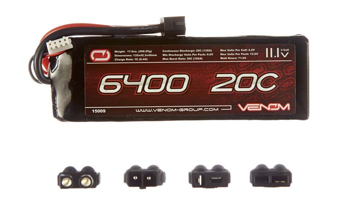 Venom 6400mAh 11.1V 3S2P 20C LiPo Car Pack - Universal Connector