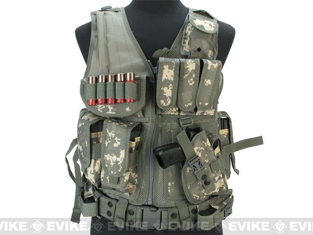 Deluxe Spec Force Cross Draw Tactical Vest with Holster & Mag Pouches - ACU