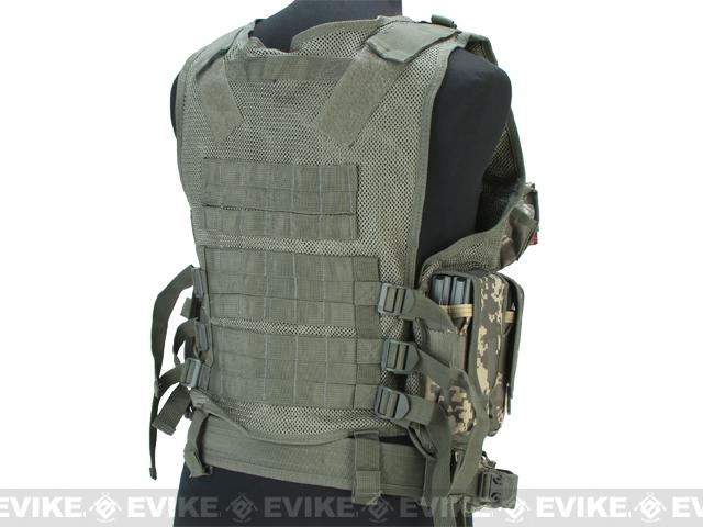 Deluxe Spec Force Cross Draw Tactical Vest with Holster & Mag Pouches - ACU - VEST-CROSSDRAW-ACU