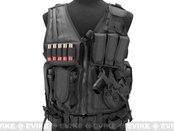Deluxe Spec Force Crossdraw Tactical Vest with Holster & Mag Pouches - Black BLK