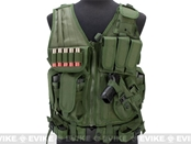 Deluxe Spec Force Crossdraw Tactical Vest with Holster & Mag Pouches - OD Olive Drab Green