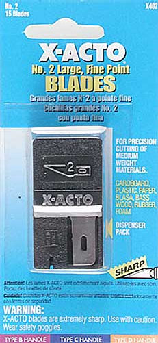 Xacto No. 2 Blade Dispenser,Card (15)