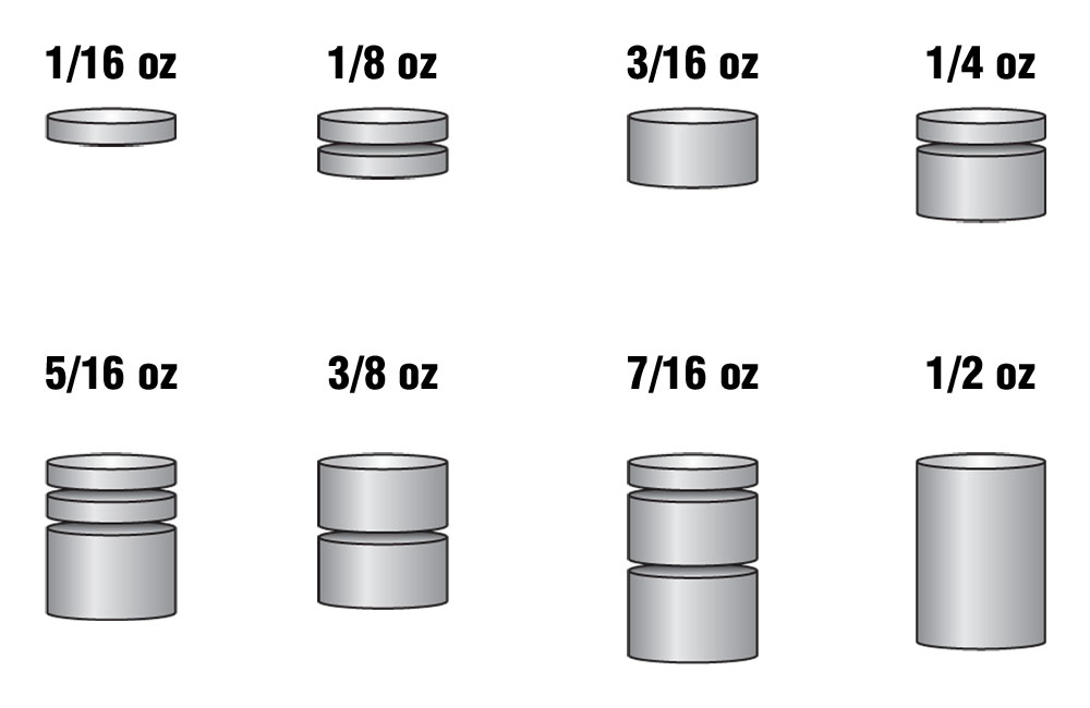 Tungsten Incremental Weights, 3 oz Cylinder - pin3915