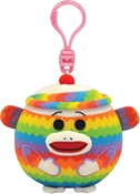 Ty Beanie Ballz Clip - Sock Monkey - Rainbow