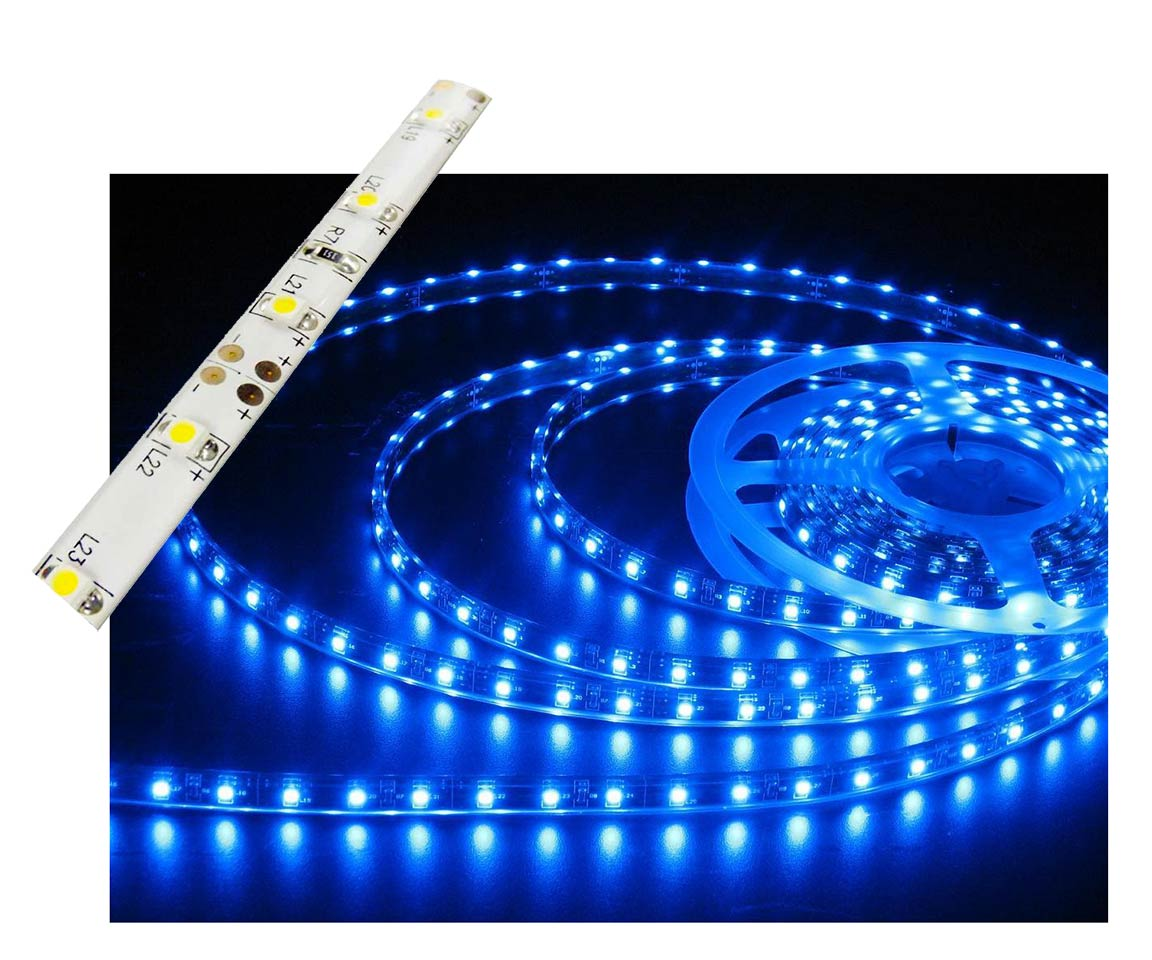 Self-Adhesive Waterproof 2 inch 3 Lights LED Light Strip - Blue