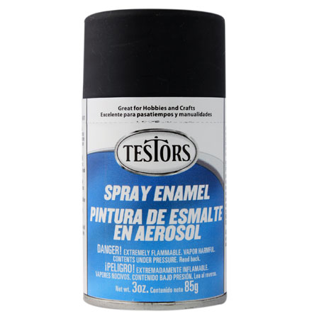 Testors 1249 Flat Black Spray Enamel 3oz
