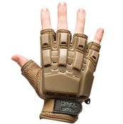 V-TAC Half Finger Plastic Back Gloves, Tan M/L