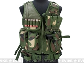 Deluxe Spec Force Crossdraw Tactical Vest with Holster & Mag Pouches - Woodland WD