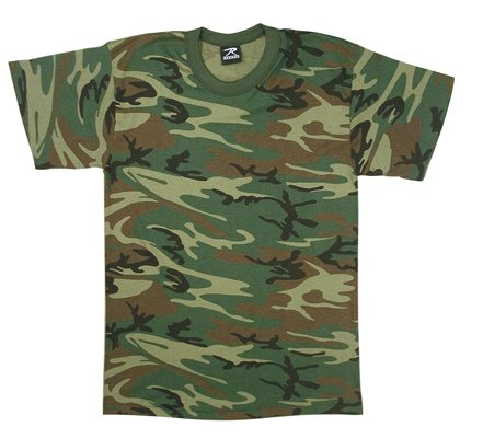 Mens Woodland Poly Cotton Camouflage T-Shirt - L